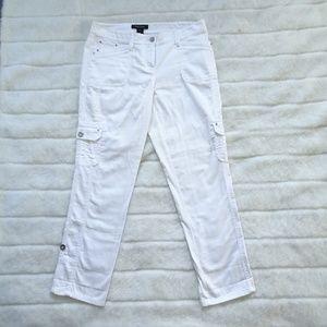 WHBM White Crop Leg Cargo Pants Size 2